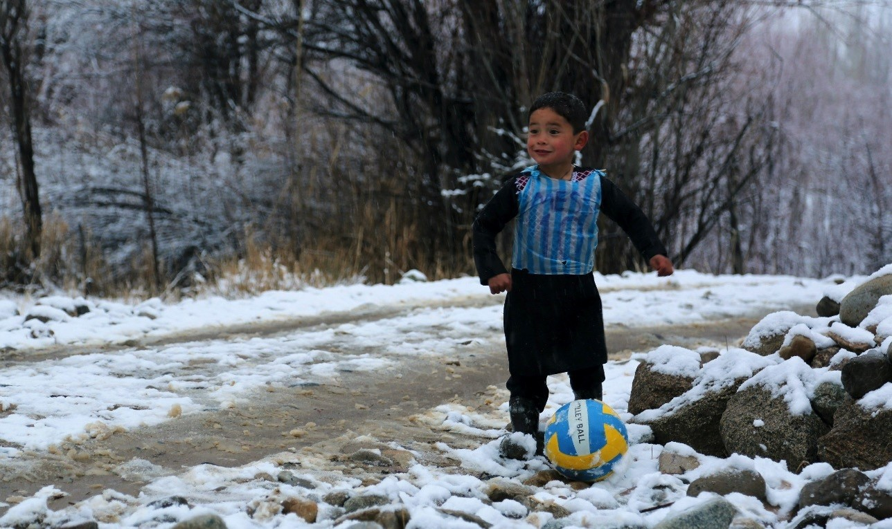 Murtaza Ahmadi became known for his Messi jersey made from a blue and white striped plastic bag.