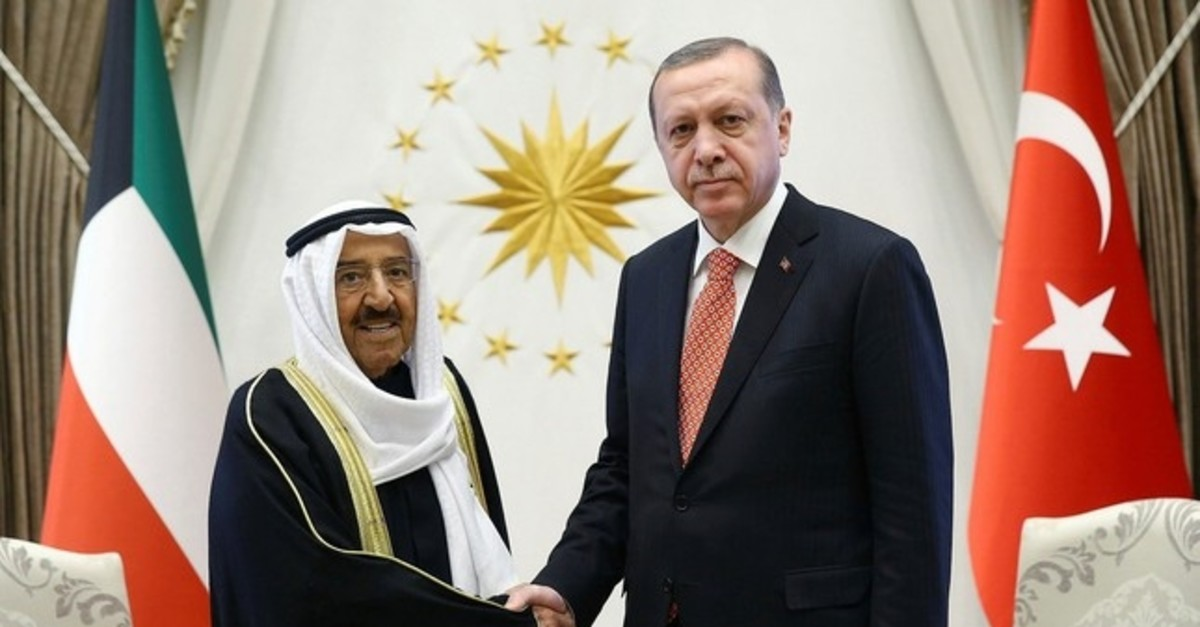 Kuwait's Emir Sheikh Sabah Al Ahmed Al Sabah, left, and President Recep Tayyip Erdou011fan shake hands before a meeting in Ankara, Turkey, Tuesday, March 21, 2017.