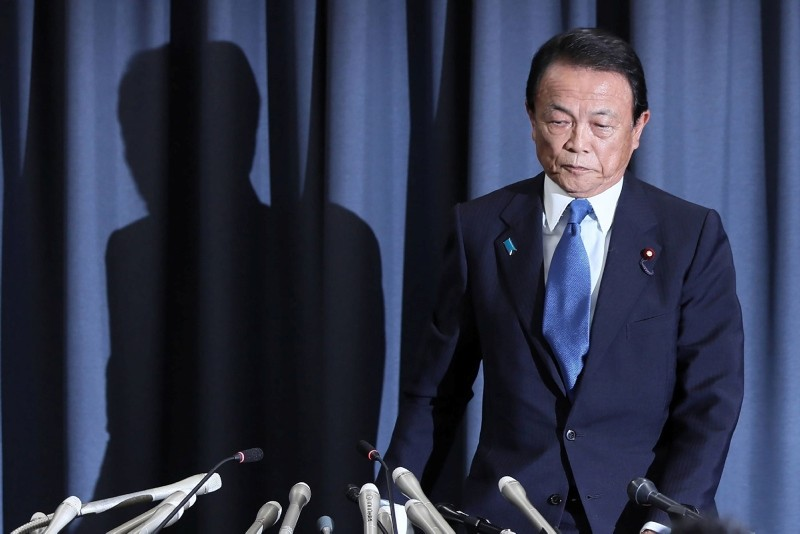 Japan's Finance Minister Taro Aso attends a press conference in Tokyo on June 4, 2018. (AFP Photo)