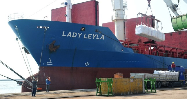 Humanitarian aid packages being loaded on the Lady Leyla, bound for Ashdod, at the port of Mersin.
