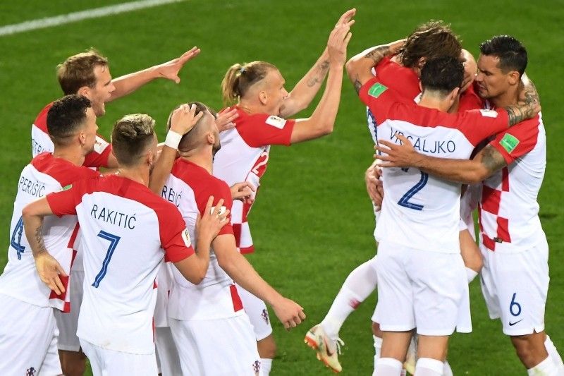 Croatia's players celebrate an own goal by Nigeria's midfielder Oghenekaro Etebo during the Russia 2018 World Cup Group D football match between Croatia and Nigeria at the Kaliningrad Stadium in Kaliningrad on June 16, 2018. (AFP Photo)