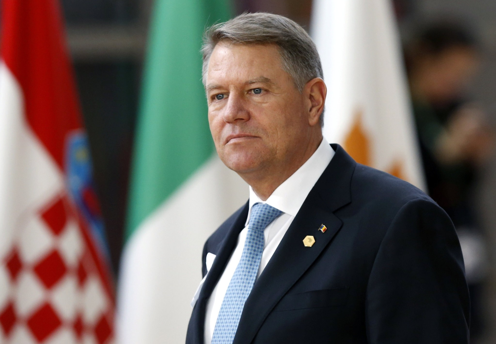 Romanian President Klaus Iohannis arrives at a European Union leaders summit in Brussels, Belgium, March 22, 2018. (REUTERS Photo)