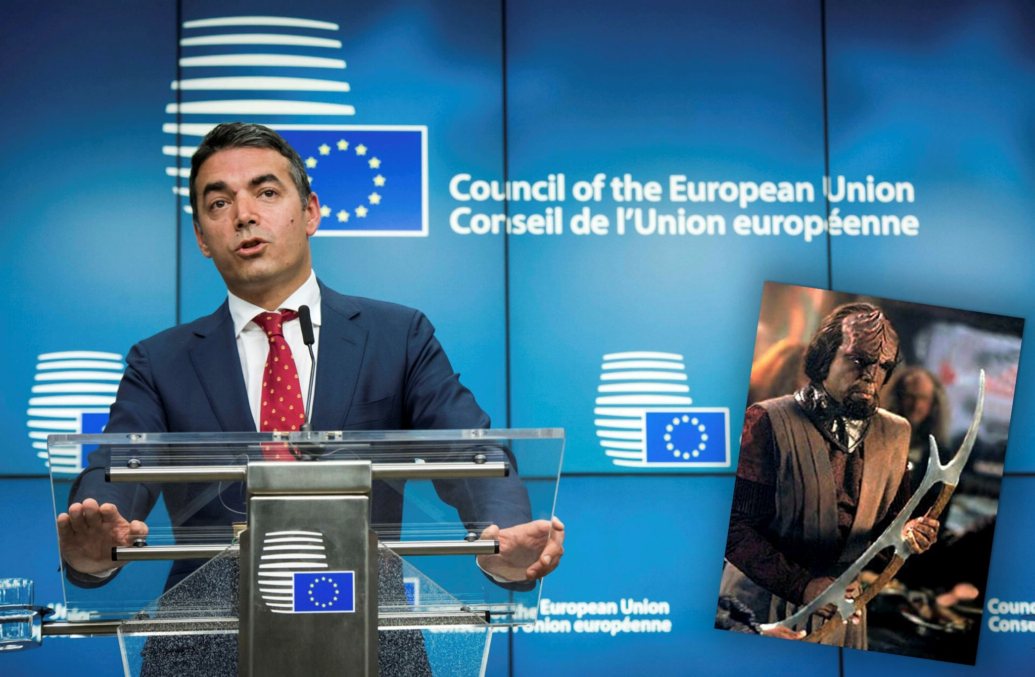 Macedonian FM Nikola Dimitrov gestures during a press conference after a EU-Macedonia Stabilisation and Association Council in Brussels on July 18, 2017. (AFP Photo) A member of the fictional Klingon species is depicted in the bottom right corner.