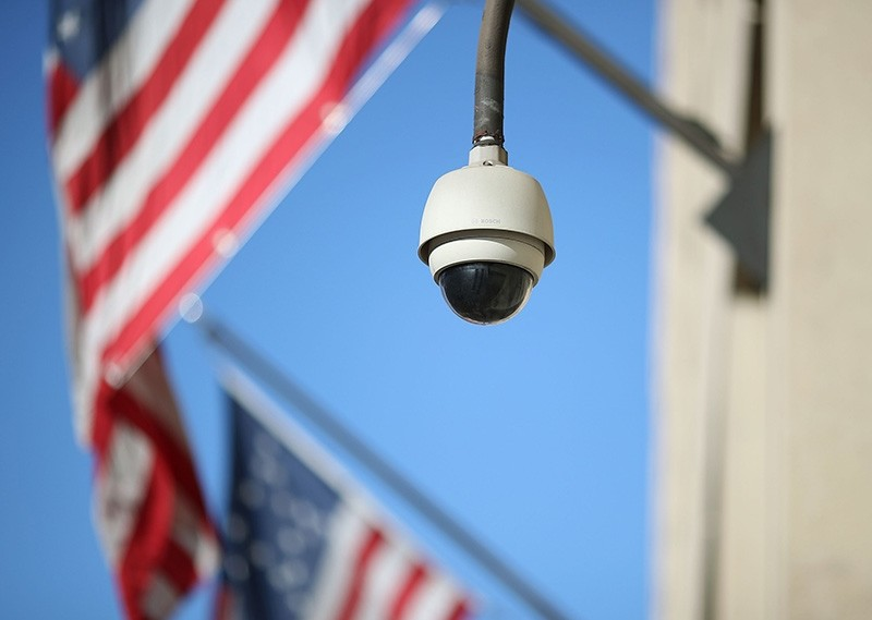 A camera is seen mounted to the FBI headquarters, on Feb. 2, 2018, in Washington, DC. (AFP Photo)