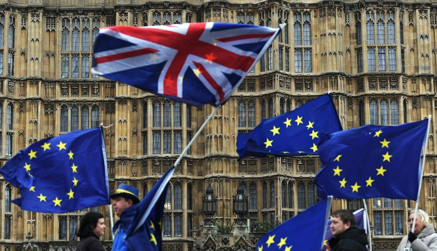EU supporters protest against the Brexit campaign outside the Houses of Parliament in London, Jan. 29.