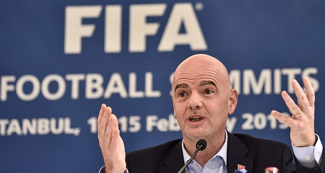 FIFA President Gianni Infantino speaks during a press conference at the FIFA Executive Football Summit on February 15, 2019 in Istanbul. (AFP Photo)