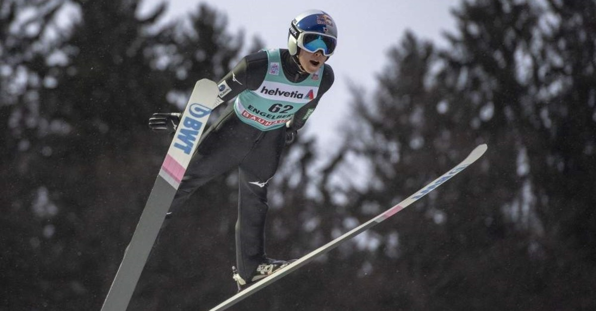 Kobayashi competes in the men's ski jumping FIS World Cup in Engelberg, Dec. 22, 2019. (AP Photo)