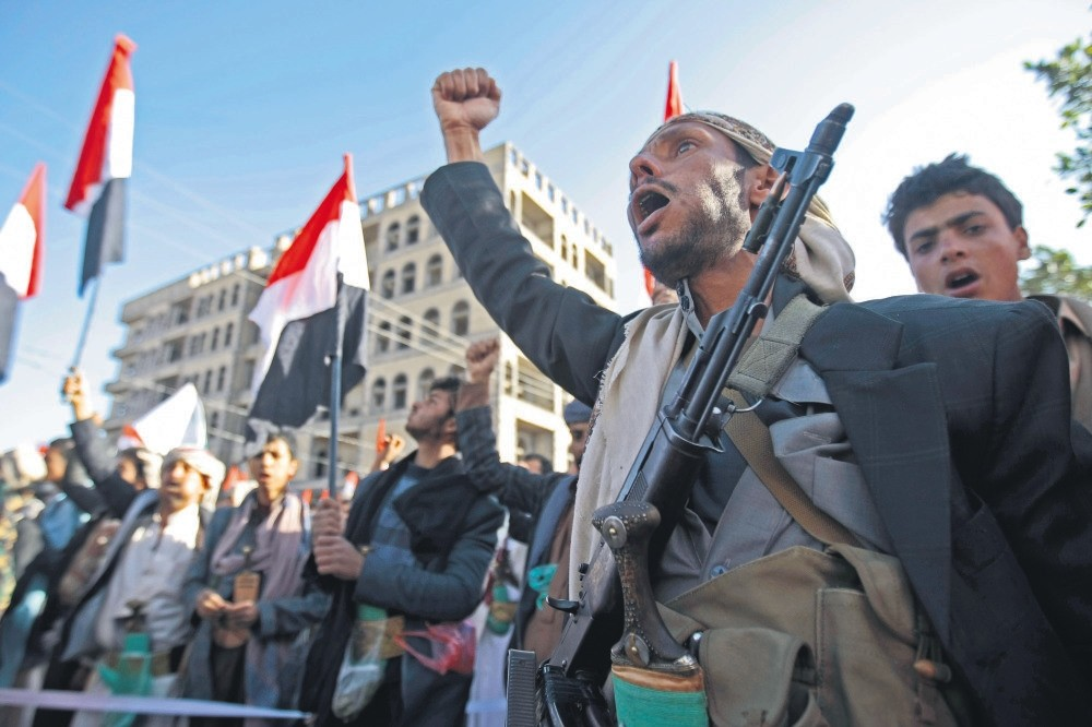 Supporters of Shiite Houthi rebels attend a rally in Sanaa, Yemen, Tuesday, Dec. 5, 2017.