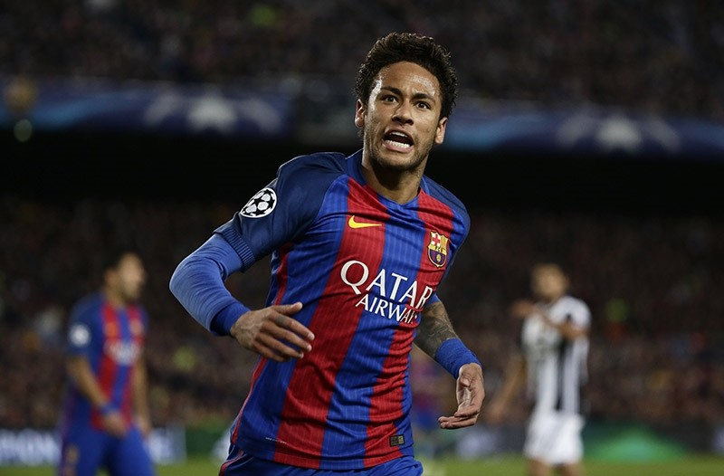 Barcelona's Neymar shouts during the Champions League quarterfinal second leg soccer match between Barcelona and Juventus at Camp Nou stadium in Barcelona, Spain, April 19, 2017. (AP Photo)
