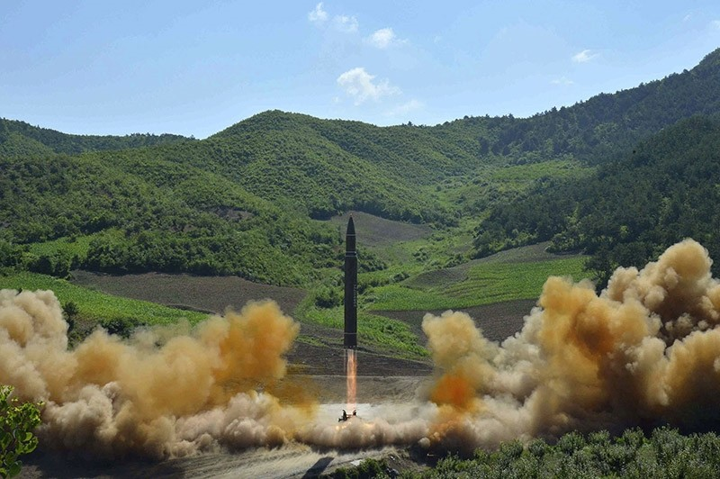 This July 4, 2017 file photo, distributed by the North Korean government shows what was said to be the launch of a Hwasong-14 intercontinental ballistic missile in North Korea. (AP Photo)