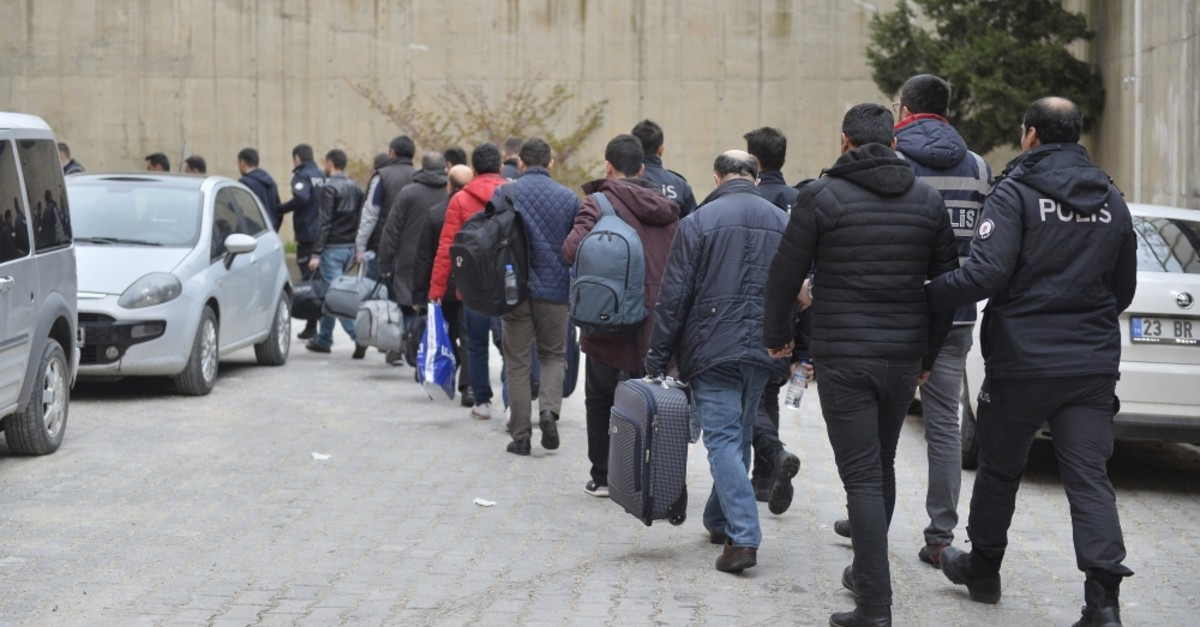 Police escort captured suspects to a police station after an operation against FETu00d6 in the province of Mardin, April 20, 2019. FETu00d6 faces operations almost on a daily basis after the 2016 coup attempt.