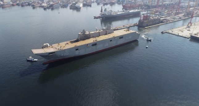 TCG Anadolu is 232 meters in length, 32 meters in width and 55 meters in height, and is said to have a full load displacement of about 27,000 tons. (AA Photo)