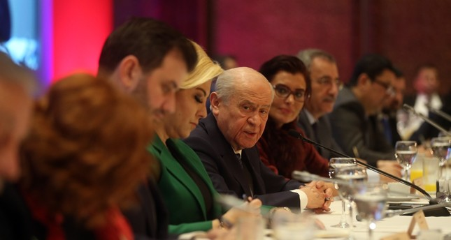 Nationalist Movement Party (MHP) leader Devlet Bahçeli speaks at a meeting with reporters in Ankara, yesterday.