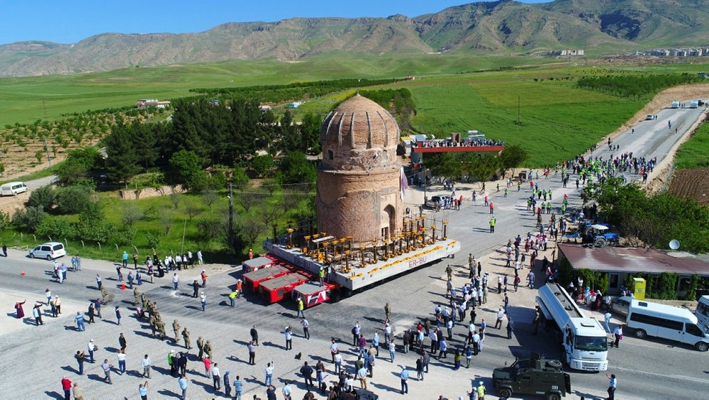 The tomb moved from its site across the River Tigris to a park 2 kilometers away