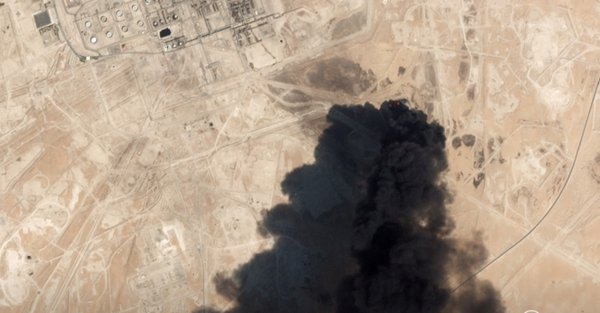 A satellite image shows an apparent drone strike on an Aramco oil facility in Abqaiq, Saudi Arabia September 14, 2019. (Planet Labs via Reuters photo)