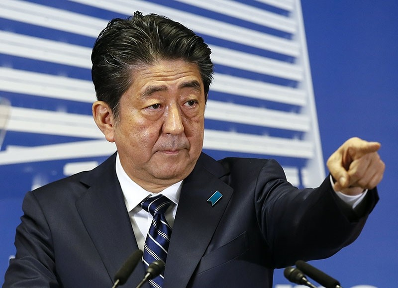 Japanese Prime Minister Shinzo Abe at a news conference Monday (EPA Photo)