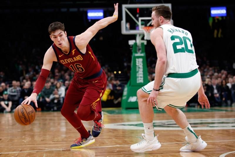 Cleveland Cavaliers forward Cedi Osman (16) drives past Boston Celtics guard Gordon Hayward (20) during the second half at TD Garden on Jan 23, 2019, in Boston, MA, US. (Greg M. Cooper-USA TODAY via Reuters)