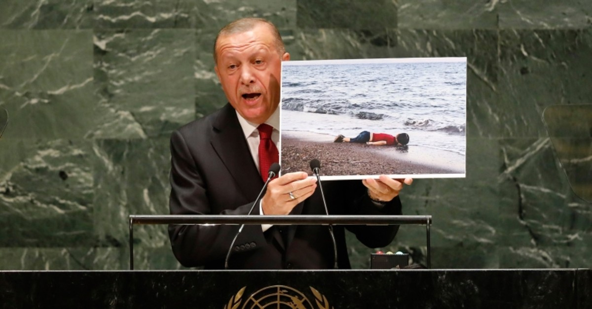 President Recep Tayyip Erdogan addresses the 74th session of the United Nations General Assembly, Tuesday, Sept. 24, 2019. (AP Photo)