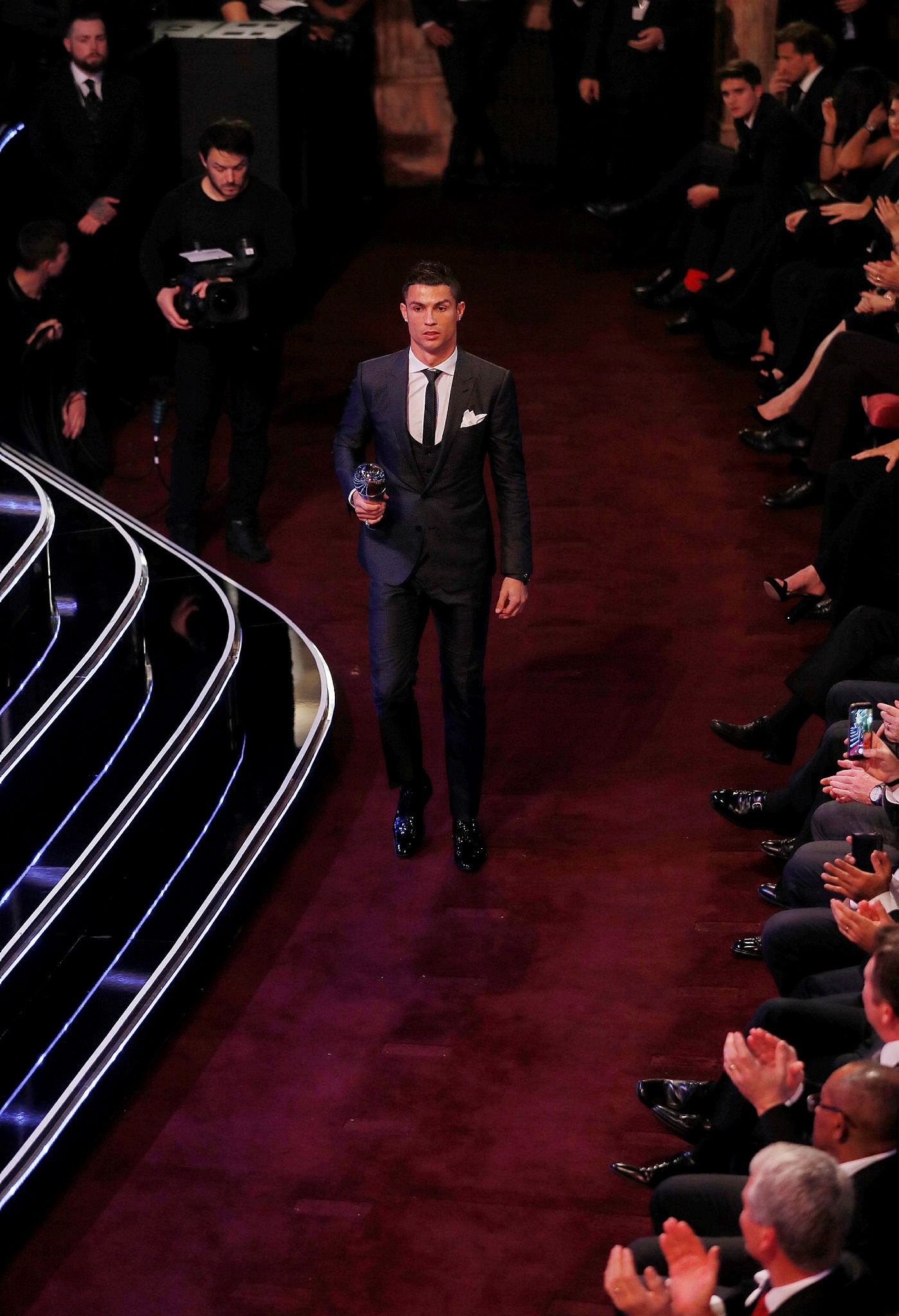 Real Madridu2019s Cristiano Ronaldo after being selected in the FIFA FIFPro World 11 during the awards (Reuters Photo)