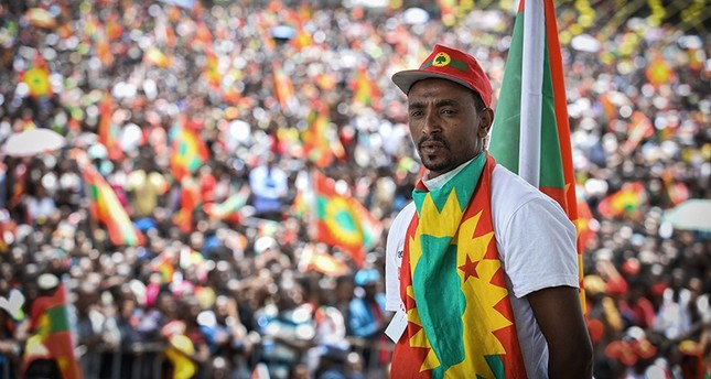 A man takes part in celebrations for the return of the formerly banned anti-government group the Oromo Liberation Front OLF at Mesquel Square in Addis Ababa, Ethiopia, on Sept. 15, 2018. AFP Photo