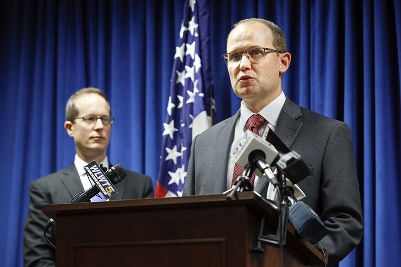 Herb Stapleton, Assistant Special Agent in Charge, FBI, right, speaks alongside U.S. Attorney Benjamin C. Glassman, left, during a news conference, Wednesday, Oct. 10, 2018, in Cincinnati. (AP Photo)
