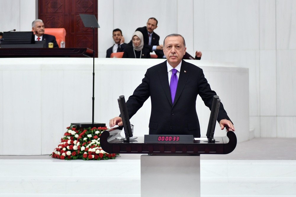 President Recep Tayyip Erdou011fan delivers a speech at the opening of the Parliament in Ankara, Oct. 1.