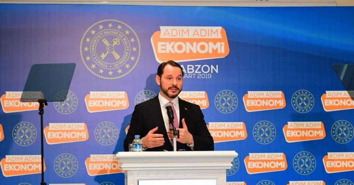 Treasury and Finance Minister Berat Albayrak speaks at an event in Black Sea province of Trabzon, March 19, 2019.