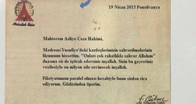 Photo shows the letter allegedly penned by Fetullah Gülen sent to FETÖ-affiliated judges, which was recently seized by Turkish security officials.