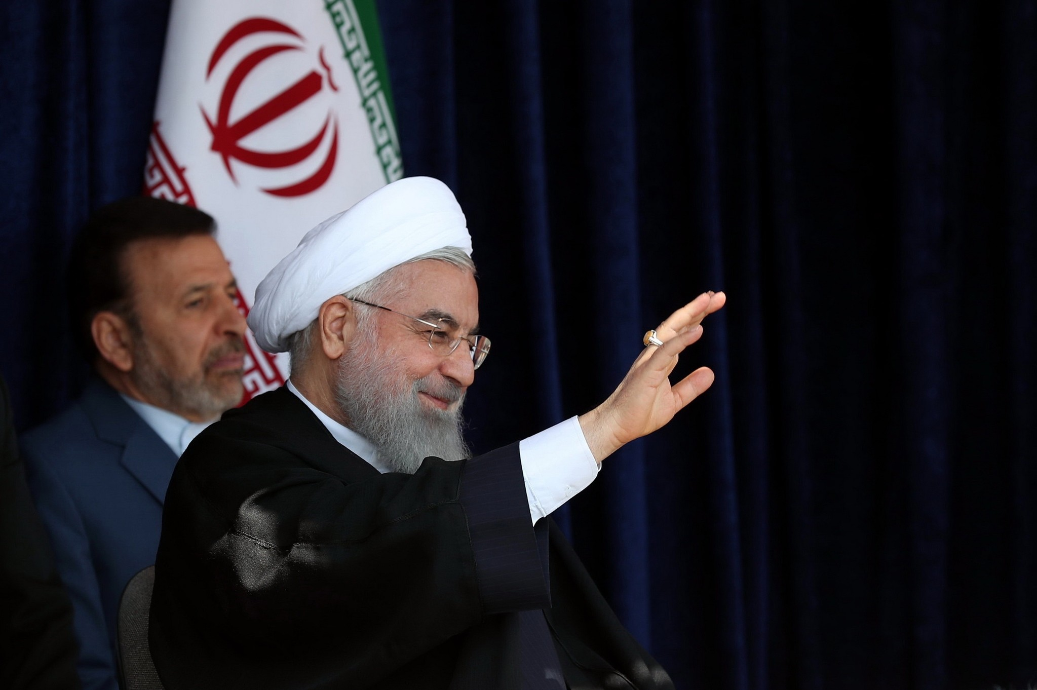 Iranian President Hassan Rouhani speaks to the crowd in the city of Sabzevarr, May 6.