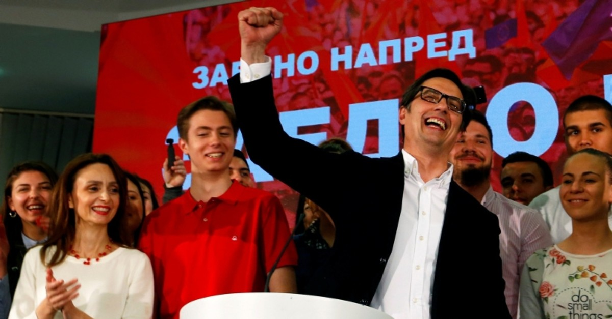 Presidential candidate of the ruling SDSM Stevo Pendarovski celebrates after preliminary results during the presidential election in Skopje, North Macedonia May 5, 2019. (Reuters Photo)
