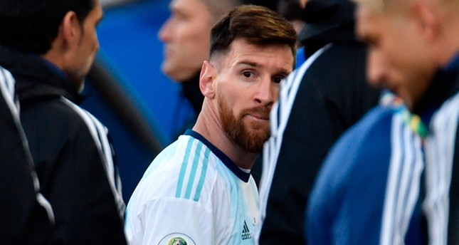 In this file photo taken on July 06, 2019 Argentina's Lionel Messi leaves the field after he and Chile's Gary Medel were sent off during the Copa America football tournament third-place match at the Corinthians Arena in Sao Paulo, Brazil. (AFP Photo)