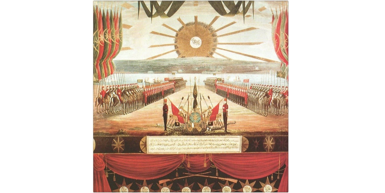 A poster painted by an unknown artist describes the modern Ottoman Army which was founded after the abolition of the Janissary corps in 1826.