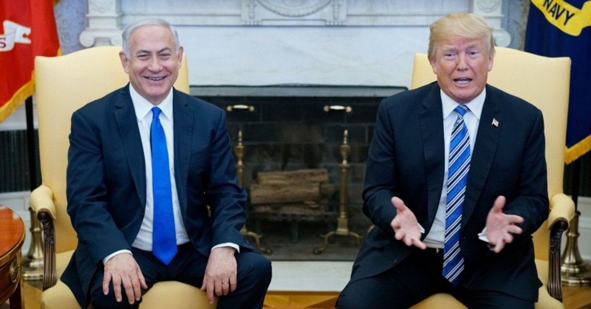 US President Donald Trump speaks during meeting with Israel's Prime Minister Benjamin Netanyahu in the Oval Office of the White House on  March 5, 2018 in Washington, DC. (AFP Photo)