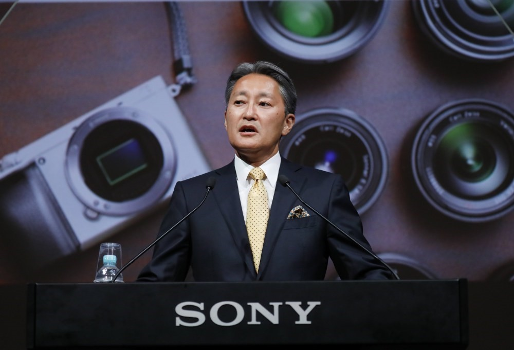 Kazuo Hirai, President and Chief Executive Officer of Sony Corp., announces the corporate strategy of the 2017 fiscal year at headquarters in Tokyo.