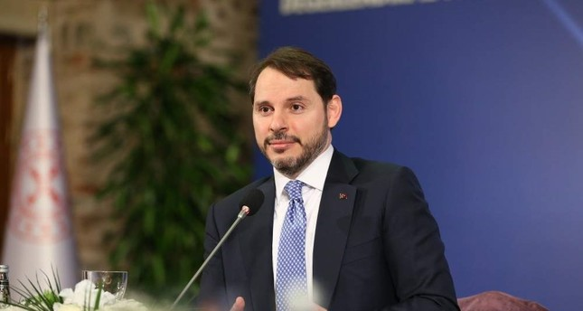 Treasury and Finance Minister Berat Albayrak speaks to reporters, Istanbul, Jan. 20, 2020. AA Photo