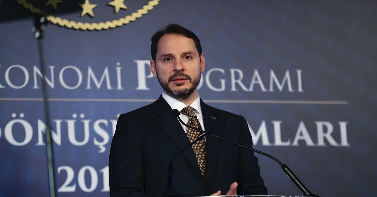 Treasury and Finance Minister Berat Albayrak speaks during the launch of the new economic reform package, Istanbul, April 10, 2019.