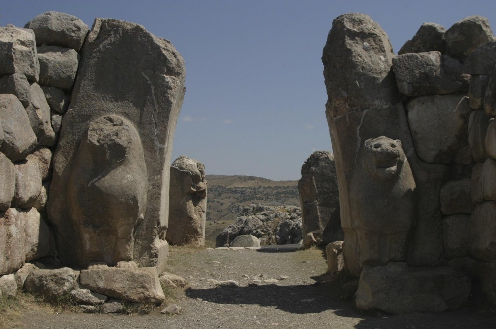The city walls of Hattusha, the capital of Hittites, built in the 14th century B.C.