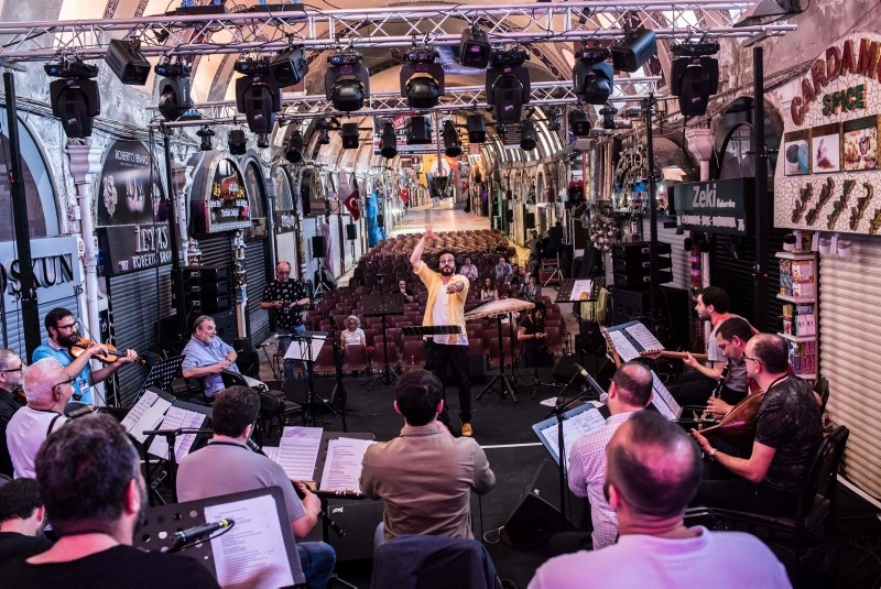 ,Melodies of Istanbul, orchestra perform during a rehearsal ahead of the 46th edition of Istanbul Music Festival at the Grand Bazaar, exceptionally open on a Sunday, during an interview with AFP on June 3, 2018 in Istanbul. (AFP Photo)