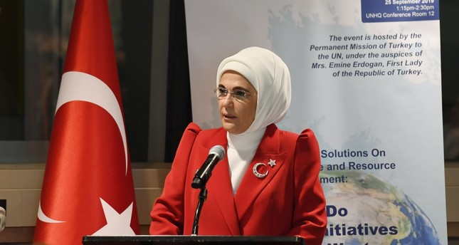First lady Emine Erdoğan addresses a panel at U.N. headquarters, Sept. 25, 2019.