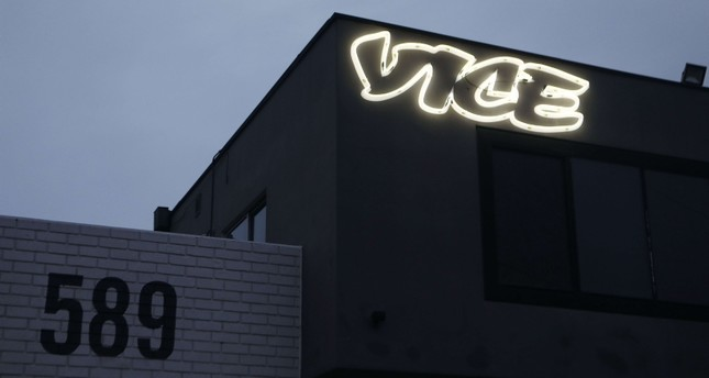 Vice Media offices display the Vice logo at dusk on February 1, 2019 in Venice, California. Vice Media announced it is cutting 250 jobs globally, about ten percent of its workforce. (AFP Photo)