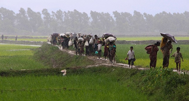 Rohingya refugees from Rakhine state in Myanmar walk along a path near Teknaf in Bangladesh on Sept. 2, 2017. (AFP Photo)
