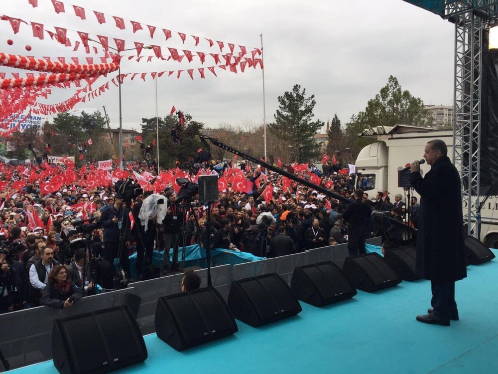 President Recep Tayyip Erdou011fan speaking at an inauguration ceremony in the southeastern province of Dikaybaku0131r, March 30.