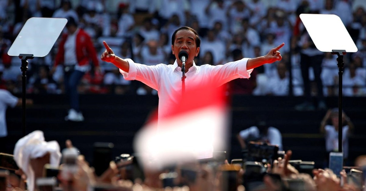 Indonesia's President Joko Widodo during a campaign rally at Gelora Bung Karno Stadium in Jakarta, Indonesia, April 13, 2019.