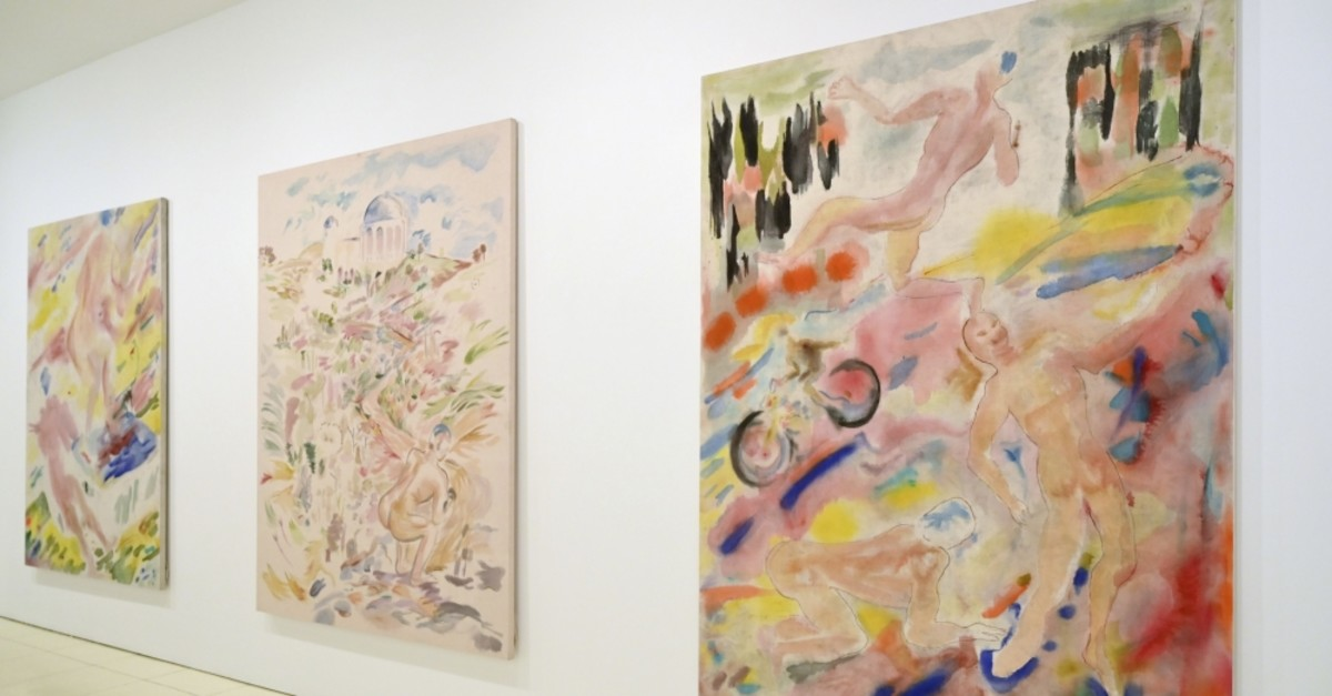 Paintings by Gus Van Sant are on display at the show ,Gus Van Sant: Recent Painting, Hollywood Boulevard, at Vito Schnabel Projects.