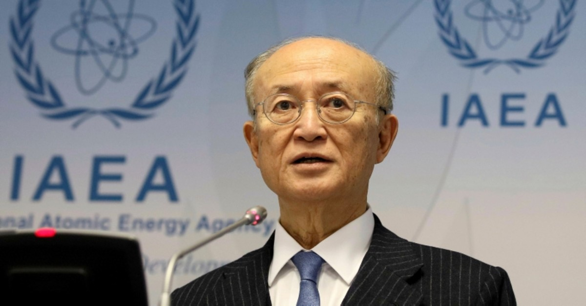 In this Nov. 22, 2018, file photo, Director General of IAEA Yukiya Amano addresses the media during a news conference after a meeting in Vienna, Austria. (AP Photo)