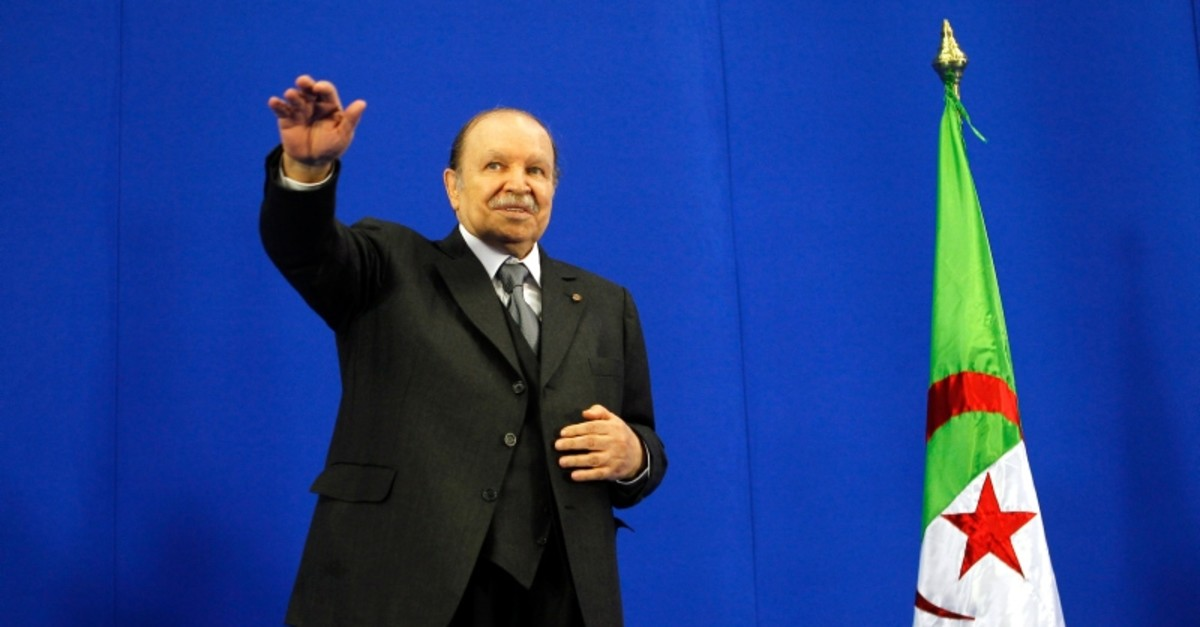 Algerian President Abdelaziz Bouteflika gestures during the commemorations of the 67th anniversary of the Setif massacre, in Setif, 300 km south Algiers, Algeria, 08 May 2012 (reissued 02 April 2019). (EPA Photo)