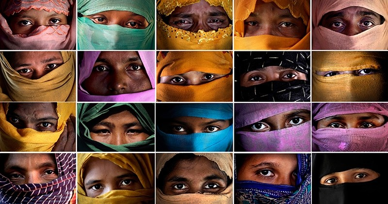 This combo photo comprises of portraits of some of the Rohingya Muslim women taken during an interview with The Associated Press in November 2017 in Kutupalong and Gundum refugee camp in Bangladesh. (AP Photo)