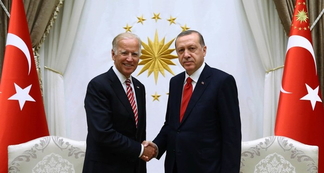 President Recep Tayyip Erdoğan (R) hosted U.S. Vice President Joe Biden at the presidential palace in Ankara.