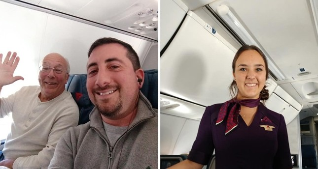 Mike Levy (C) takes photos of Hal Vaughen (L) and his flight attendant daughter Pierce (R). (Photos taken from Facebook/mlevy1987)
