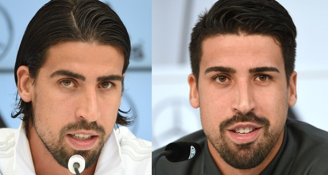 This combination of pictures created on Oct. 12, 2017 shows Juventus player Sami Khedira during a press conference on May 31, 2016 (R) and on May 28, 2014 (L). (AFP Photo)